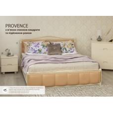 Кровать Прованс с патиной/фрезеровкой и мягкой спинкой квадраты с подъёмным механизмом